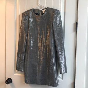 Silver metallic long sleeve dress